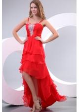 High Low Straps Rhinestone Layers Red Prom Nightclub Dress