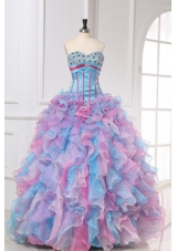 Hot Seller Multi-color Sweetheart Beading and Ruffles Quinceanera Dress