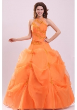 High Neck Beaded Appliques and Pick Ups Quinceanera Dresses