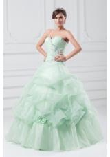 Mint Green Sweetheart Organza Ball Gown Floor-length Sweet 15 Dresses