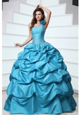 Handle Flowers One Shoulder Pick Ups Taffeta Sweet 15 Dresses