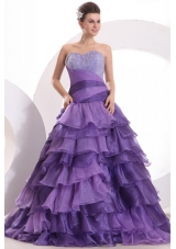 Purple Princess Ruffled Layers Sweet 15 Dresses with Sequin Bust