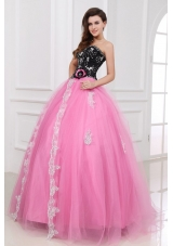 Pick and Black Quinceanera Dresses with Beading and Lace Flower