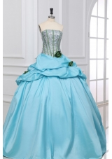 Light Blue Quinceanera Party Dress with Sequin Bust and Flowers