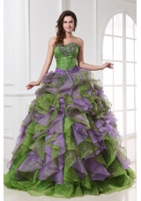 Multi-colored Organza Quinceanera Dress with Beading and Ruffles