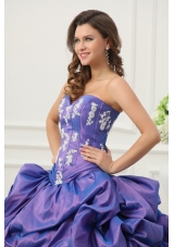 Lavender Taffeta Quinceanera Dress with Appliques and Pick-ups