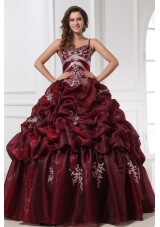Popular Burgundy Spaghetti Straps Quinceanera Dress with Appliques