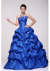 Sassy Beading Bowknot and Pick Ups Blue Taffeta Sweet 16 Dress