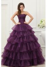 Ruffled Layeres Quinceanera Dress in Dark Purple with Beading