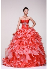 Chic Diamonds and Ruffles Sweetheart Organza Dress for Quince