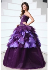 Purple Sweetheart Sweet Sixteen Dresses with Beading and Ruffles
