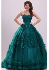 Elegant Teal Color Beaded Sweetheart Quinceanera Dresses