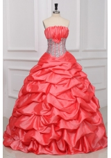 Pick Ups Handle Flowers and Sequins Red Dresses for Sweet 16
