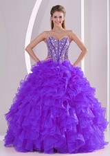 Purple Luxurious Quinceanera Dresses with Ball Gown Sweetheart Ruffles and Beading Lace Up