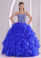 2014 Ball Gown Sweetheart Beaded Blue Quinceanera Gowns with Ruffles