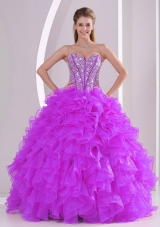 Popular Sweetheart Organza 2014 Fuchsia Quinceanera Gowns