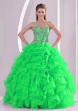 Spring Green Sweetheart Ruffles and Beading Floor-length Quinceanera Gowns