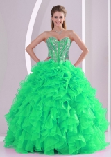 Luxurious Green Ball Gown Sweetheart Long Quinceanera Gowns in Sweet 16