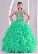 Turquoise Ball Gown Sweetheart Ruffles and Beading Long 2013 Quinceanera Gowns