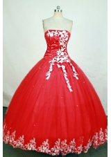 Gorgeous Ball Gown Strapless Floor-length Red Appliques Quinceanera dress