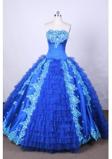 Modest Ball Gown Strapless FLoor-Length Blue Appliques And Beading Quinceanera Dresses