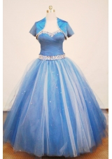 Beautiful Ball gown Strap Floor-length Tulle Blue Quinceanera Dress