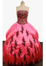 Beautiful Ball Gown Strapless Floor-Length Watermelon Beading and Appliques Quinceanera Dress