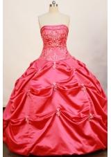 Cheap Ball Gown Strapless Floor-length Taffeta Hot Pink Quinceanera Dress