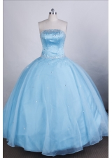 Elegant Ball Gown Strapless Floor-length Light Blue Quinceanera Dresses