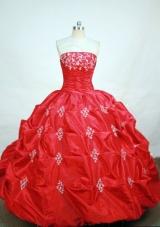 Elegant ball gown strapless floor-length  red taffeta appliques quinceanera dress