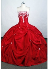 Elegant Ball Gown Strapless Floor-length Taffeta Quinceanera Dresses