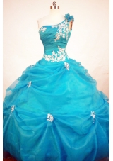 Exclusive Ball Gown One Shoulder Neck Floor-length Quinceanera Dresses Appliques