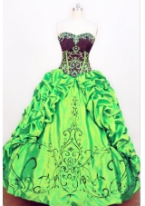 Exquisite Ball gown Strapless Floor-length Taffeta Green Quinceanera Dress