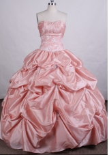 Exquisite Ball Gown Strapless Floor-length Taffeta Quinceanera Dresses