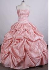 Exquisite Ball Gown Strapless Floor-length Taffeta Quinceanera Dresses
