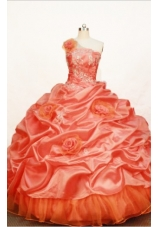 Gorgeous Ball gown One shoulder neck Floor-length Taffeta Orange Quinceanera Dress