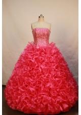 Luxurious Ball gown Strapless Floor-length Organza Red Quinceanera Dress