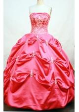 Modest Ball Gown Strapless Floor-length Taffeta Quinceanera Dresses
