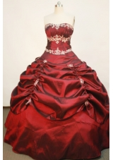 Popular Ball Gown Strapless Floor-length Taffeta Wine Red Quinceanera Dress
