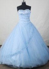 Popular Ball Gown Sweetheart Floor-length Baby Blue Organza Beading Quinceanera Dress