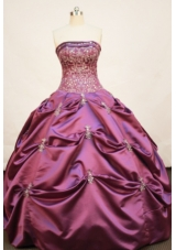 Pretty Ball gown Strapless Floor-length Taffeta Fuchsia Quinceanera Dress