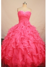 Pretty ball gown sweetheart-neck floor-length organza beading waterlmelon quinceanera dresses with rolling flowers