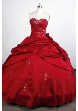 Simple Ball Gown Sweetheart-neck Floor-length Wine Red Quinceanera Dresses