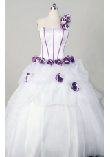 Wonderful Ball Gown One Shoulder Floor-length Organza Quinceanera Dresses