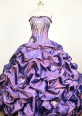 Classical  Strapless Floor-Lengtrh Purple Appliques and Hand Flower Quinceanera Dress