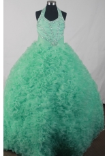 Elegant Ball Gown Halter Top Neck Floor-length Green Dress