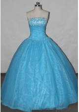 Simple A-line Strapless Floor-length Quinceanera Dresses Appliques