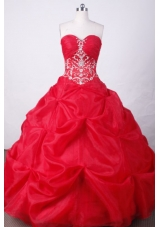 Sweet Ball Gown Sweetheart Floor-length Red Organza Beading Quinceanera dress