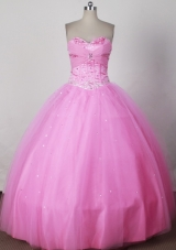 Sweet Ball Gown Strapless Floor-length Pink Quinceanera Dress