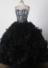 Beautiful Ball Gown Strapless Floor-length Black Quinceanera Dress
